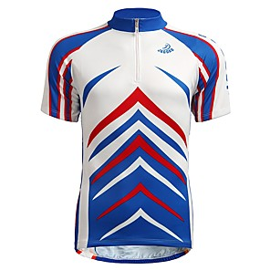 cheap Cycling Jerseys-Jaggad Men's Short Sleeve Cycling Jersey Blue Bike Jersey Mountain Bike MTB Road Bike Cycling Breathable Moisture Wicking Sports Clothing Apparel / Stretchy