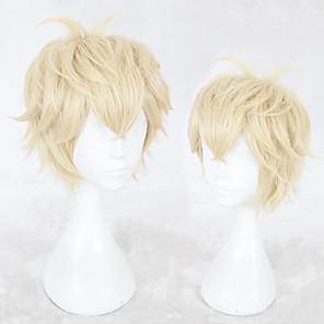 cheap Costume Wigs-Synthetic Wig Straight Layered Haircut Wig Blonde Short Blonde Synthetic Hair Men's Natural Hairline Blonde