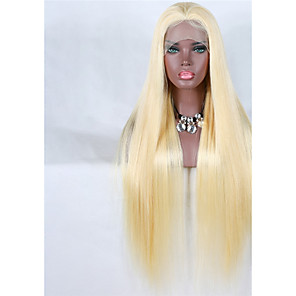cheap Synthetic Lace Wigs-Virgin Human Hair Full Lace Wig Gaga style Brazilian Hair Straight Blonde Wig 150% Density with Baby Hair Natural Hairline Women's Medium Length Long Very Long Human Hair Lace Wig Premierwigs