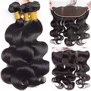 cheap Human Hair Weaves-3 Bundles with Closure Hair Weaves Peruvian Hair Body Wave Human Hair Extensions Virgin Human Hair Human Hair Extensions Hair Weft with Closure 8-22 inch Natural Color 100% Virgin