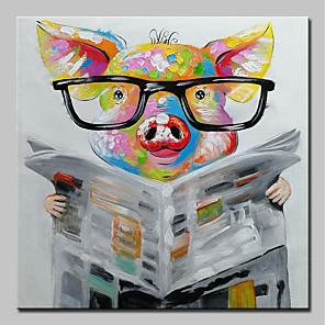 tanie Obrazy: motyw zwierzęcy-Hang-Malowane obraz olejny Ręcznie malowane - Pop art Nowoczesny Naciągnięte płótka / Rozciągnięte płótno