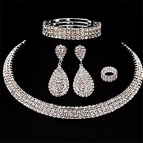 cheap Jewelry Sets-Women's Necklace Earrings Bracelet Tennis Chain Drop European Fashion Elegant fancy Rhinestone Earrings Jewelry Silver For Wedding Party Prom 1 set / Ring