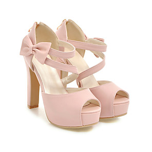 cheap Women's Heels-Women's Sandals Spring / Summer Pumps Peep Toe Vintage Sexy Sweet Daily Party & Evening Bowknot Solid Colored PU White / Black / Pink