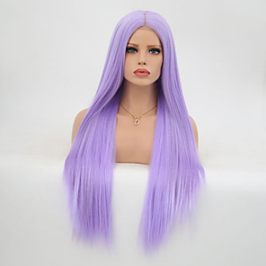 cheap Synthetic Lace Wigs-Synthetic Lace Front Wig Straight Layered Haircut Lace Front Wig Long Purple Synthetic Hair Women's Heat Resistant Purple