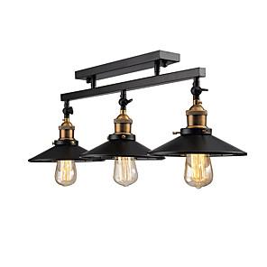 cheap Cluster Design-3-Light Vintage Loft Ceiling Lamp Flush Mount Light Direction Adjustable 3-Head Metal Mirror Glass Living Room Dining Room