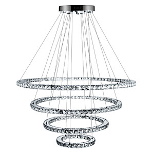 cheap Dimmable Ceiling Lights-1-Light 90 cm Crystal / Dimmable / LED Chandelier Metal Circle Electroplated Modern Contemporary 110-120V / 220-240V