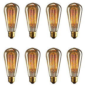 cheap Sleeping Bags & Camp Bedding-BRELONG 8 pcs E27 40W ST64 Dimmable Edison Decorative Bulb Warm White AC220V/AC110V