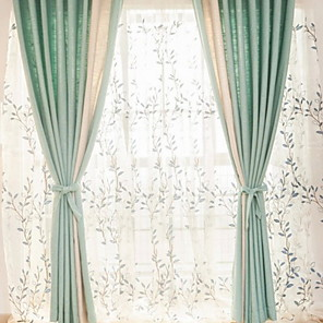 cheap Mosquito Nets-Curtains Drapes Living Room Contemporary Cotton / Polyester Printed