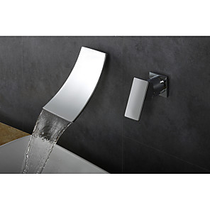 cheap Bathroom Sink Faucets-Bathroom Sink Faucet - Waterfall / Widespread Chrome Wall Mounted Single Handle Two HolesBath Taps / Brass