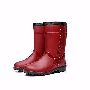 cheap Women's Boots-Women's Boots Flat Heel PVC Leather Mid-Calf Boots Rain Boots Winter Burgundy