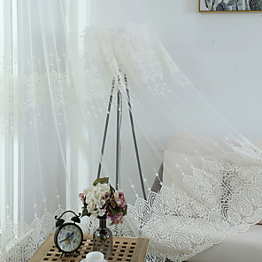 cheap Sheer Curtains-Two Panel Modern Minimalist Style Embroidered Gauze Curtain Living Room Bedroom Dining Room Transparent Tulle