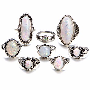 cheap Jewelry Sets-Women's Knuckle Ring Opal Moonstone 8pcs Silver Alloy Geometric Ladies Unusual Unique Design Daily Bar Jewelry Geometrical