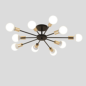 cheap Ceiling Lights-10-Light 10-Head Vintage Metal Semi Flush Mount Ceiling Light Living Room Dining Room Lighting Painted Finish