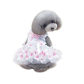cheap Dog Clothes-Pets Dress Dog Clothes Purple Pink Costume Husky Beagle Bichon Frise Cotton / Polyester Net Voiles & Sheers Solid Colored Flower / Floral Flower Style Bow Cute XS S M L XL
