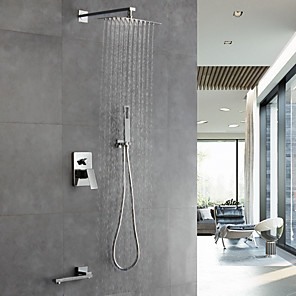 cheap Shower Faucets-Shower Faucet - Contemporary Chrome Wall Mounted Ceramic Valve / Brass / Single Handle Four Holes Bath Shower Mixer Taps