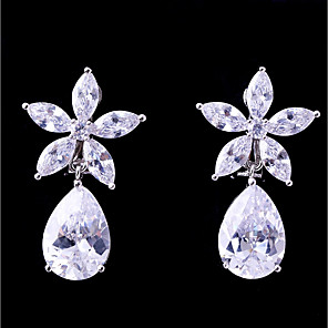 cheap Earrings-Women's Cubic Zirconia Clip on Earring Flower Fashion Elegant Earrings Jewelry White For Wedding Evening Party One-piece Suit