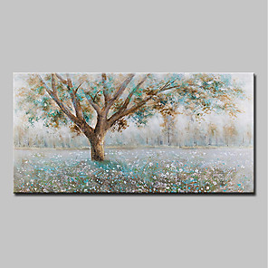 cheap Floral/Botanical Paintings-Mintura® Hand-Painted Modern Abstract Tree Oil Painting On Canvas Wall Art Picture For Home Decoration Ready To Hang