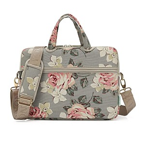 "cheap Sleeves,Cases & Covers-13.3"" 14"" 15.6"" Shoulder Messenger Bag Briefcase Handbags Canvas Floral Print for Macbook/Surface/HP/Dell/Samsung/Sony Etc"