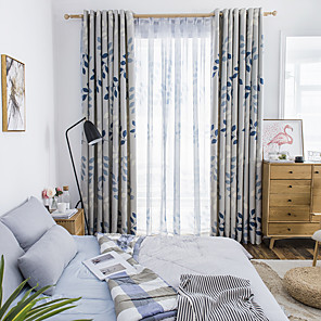 cheap Curtains Drapes-Two Panel Korean Pastoral Style Leaf Printing Blackout Curtains For Living Room Bedroom Dining Room Children's Room Curtains