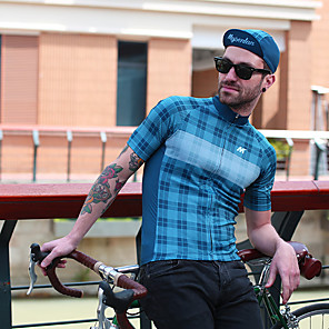 cheap Cycling Jerseys-Mysenlan Men's Short Sleeve Cycling Jersey Black / Yellow Blue+Pink Blue Plaid / Checkered Bike Jersey Mountain Bike MTB Road Bike Cycling Sports Clothing Apparel / Micro-elastic / Expert / Expert