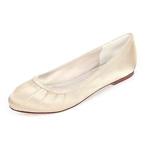 cheap Wedding Shoes-Women's Flats Flat Heel Round Toe Side-Draped Satin Ballerina Spring & Summer Royal Blue / Champagne / Ivory / Wedding / Party & Evening
