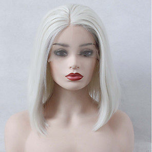 cheap Synthetic Lace Wigs-Synthetic Lace Front Wig Straight Bob Middle Part Lace Front Wig Short Platinum Blonde Synthetic Hair Women's Heat Resistant Women Fashion White