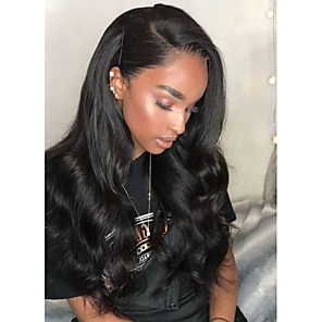 cheap Synthetic Lace Wigs-Synthetic Wig Synthetic Lace Front Wig Wavy Kardashian Side Part Lace Front Wig Long Natural Black Brown Synthetic Hair Women's Heat Resistant Natural Hairline African American Wig Black Modernfairy