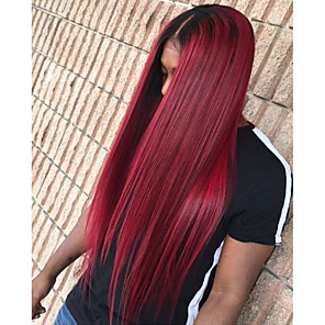 cheap Synthetic Lace Wigs-Synthetic Lace Front Wig Straight Minaj Middle Part Lace Front Wig Burgundy Long Black / Burgundy Synthetic Hair Women's with Baby Hair Heat Resistant Ombre Hair Burgundy Modernfairy Hair