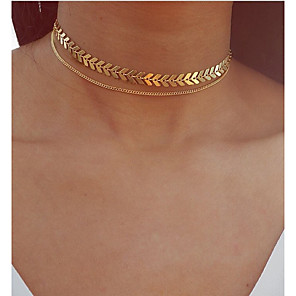 cheap Necklaces-Choker Necklace Pendant Necklace Layered Foxtail chain Double Leaf Ladies Bohemian Vintage European Alloy Gold Silver 30 cm Necklace Jewelry For Party / Evening Gift / Layered Necklace