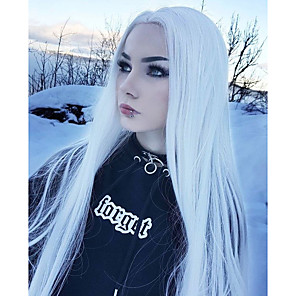 cheap Synthetic Lace Wigs-Synthetic Lace Front Wig Wavy Kardashian Middle Part Lace Front Wig Long White Synthetic Hair Women's Adjustable Women Synthetic White / Natural Hairline / Natural Hairline