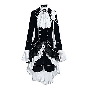 cheap Anime Costumes-Inspired by Black Butler Ciel Phantomhive Anime Cosplay Costumes Japanese Outfits Color Block Patchwork Long Sleeve Vest Shirt Skirt For Men's Women's / Headpiece / Headpiece