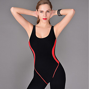 cheap Wetsuits, Diving Suits & Rash Guard Shirts-Kaiyulang Women's One Piece Swimsuit Patchwork Bodysuit Swimwear Black Dark Navy Chlorine resistance Warm Anti-Wear Sleeveless - Swimming / Nylon / Stretchy