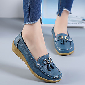 cheap Women's Boots-Women's / Unisex Loafers & Slip-Ons Flat Heel Round Toe Button Leather / PU Booties / Ankle Boots Sweet / Minimalism Walking Shoes Spring & Summer / Fall & Winter Black / Light Blue / White