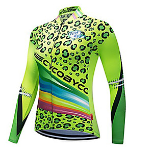 cheap Cycling Jerseys-CYCOBYCO Women's Long Sleeve Cycling Jersey Winter Fleece Polyester Green Leopard Plus Size Bike Sweatshirt Jersey Top Mountain Bike MTB Road Bike Cycling Quick Dry Reflective Strips Sports Clothing