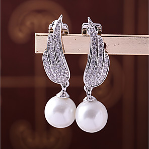 cheap Earrings-Women's Cubic Zirconia Clip on Earring Leaf Feather Fashion Elegant Earrings Jewelry White For Wedding Engagement One-piece Suit