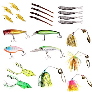 cheap Fishing Lures & Flies-22 pcs Fishing Lures Hard Bait Soft Bait Buzzbait & Spinnerbait Spoons Lure Packs Sinking Bass Trout Pike Sea Fishing Freshwater Fishing Lure Fishing Plastics Metal