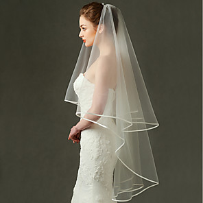 cheap Wedding Veils-One-tier Fashionable Jewelry / Mesh / Convertible Dress Wedding Veil Fingertip Veils with Fringe / Splicing 70.87 in (180cm) POLY / Tulle / Oval