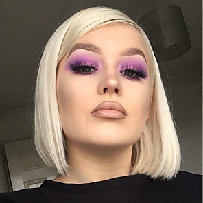cheap Synthetic Lace Wigs-Synthetic Lace Front Wig Straight Bob Lace Front Wig Blonde Short Blonde / Purple Synthetic Hair Women's Heat Resistant Fashion African American Wig Blonde