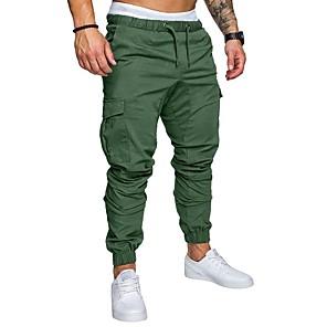 cheap Fitness Gear & Accessories-Hiking Pants Men's Basic Plus Size Daily wfh Sweatpants / Cargo Pants - Solid Colored Spring Fall Navy Blue Khaki Light gray XXL XXXL XXXXL
