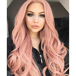 cheap Synthetic Lace Wigs-Synthetic Lace Front Wig Wavy Kardashian Middle Part Lace Front Wig Long Rose Gold Synthetic Hair Women's Women Synthetic Fashion Rose Pink / Glueless