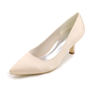 cheap Wedding Shoes-Women's Wedding Shoes Kitten Heel Pointed Toe Satin Basic Pump Spring & Summer Blue / Champagne / Ivory / Party & Evening