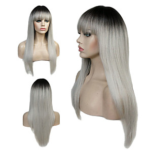 cheap Synthetic Trendy Wigs-Synthetic Wig Straight Bob Wig Blonde Long Light Brown Auburn Blonde Grey Strawberry Blonde / Medium Auburn Synthetic Hair Women's Kanekalon Hair Blonde Light Brown StrongBeauty