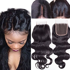 cheap Human Hair Weaves-Guanyuwigs Brazilian Hair 4x4 Closure Wavy Free Part / Middle Part / 3 Part Swiss Lace Human Hair Women's With Baby Hair / Soft / Silky Dailywear / Daily