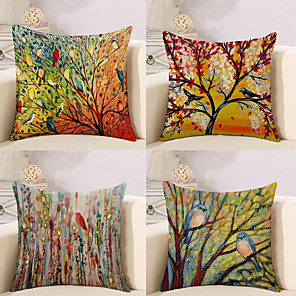 cheap Throw Pillow Covers-Set of 4 Botanical Animal Oil Painting Artistic Pastoral Style Cotton Linen Decorative Square Throw Pillow Covers Set Cushion Case for Sofa Bedroom Car