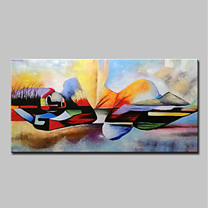 cheap Abstract Paintings-Oil Painting Hand Painted - People / Religious Modern Canvas