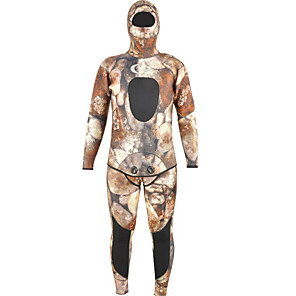 cheap Wetsuits, Diving Suits & Rash Guard Shirts-YON SUB Men's Full Wetsuit 7mm SCR Neoprene Diving Suit Stretchy Long Sleeve 2-Piece Back Zip Camo / Camouflage Autumn / Fall Spring Summer / Winter