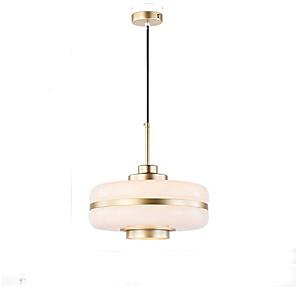 cheap Island Lights-1-Light 30 cm Pendant Light Metal Glass Drum Electroplated Modern 110-120V / 220-240V