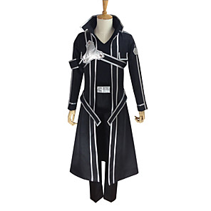 cheap Anime Costumes-Inspired by SAO Swords Art Online Kirito Anime Cosplay Costumes Japanese Cosplay Suits Solid Colored Long Sleeve Coat Pants Gloves For Men's Women's / T-shirt / Belt / Strap / Belt / T-shirt