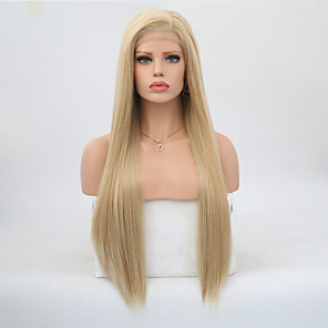 cheap Synthetic Lace Wigs-Synthetic Lace Front Wig Straight Side Part Lace Front Wig Blonde Long Honey Blonde / Bleached Blonde Synthetic Hair 18-24 inch Women's Adjustable Heat Resistant Party Blonde