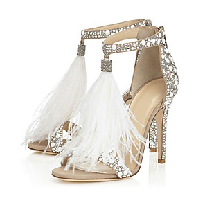 cheap Wedding Shoes-Women's Wedding Shoes Furry Feather Stiletto Heel Open Toe Rhinestone / Feather / Buckle Suede Novelty / Basic Pump Summer White / Party & Evening / Party & Evening / EU41